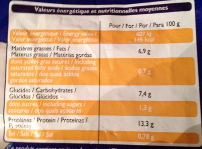 Filets Meunière de Colin d'Alaska - Nutrition facts