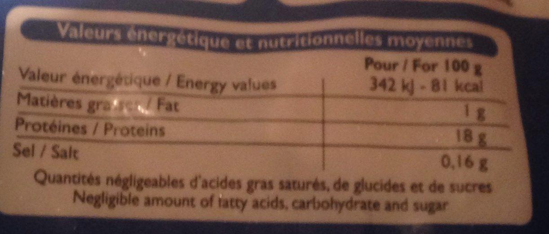 Fillets de cabillaud sauvage - Nutrition facts - fr