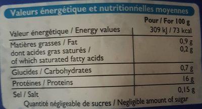 Filets de Merlu Blanc avec Peau - Informations nutritionnelles - fr