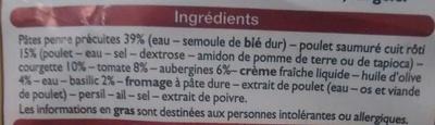 Penne Poulet Pesto, Surgelé - Ingrédients - fr