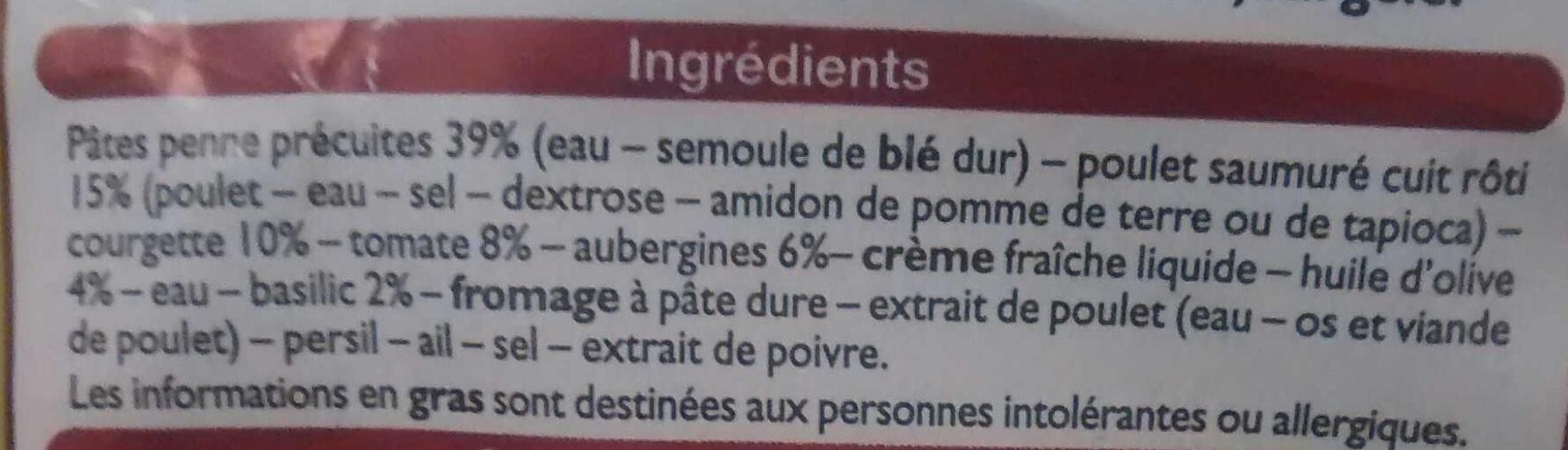 Penne Poulet Pesto, Surgelé - Ingrédients