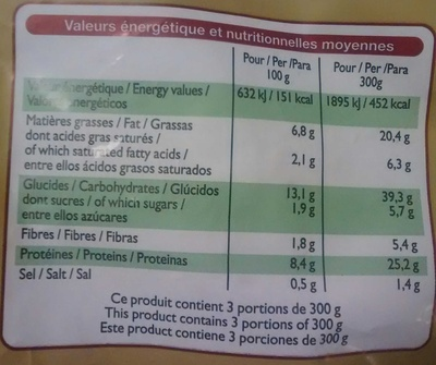 Penne Poulet Pesto, Surgelé - Informations nutritionnelles