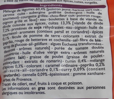 Poêlée de Légumes à l'Orientale, Surgelé - Ingrédients - fr