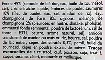Penne au Poulet ,sauce Champignons, Surgelé - Inhaltsstoffe - fr