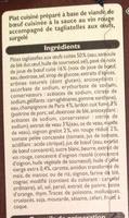 Bœuf Bourguignon et Tagliatelles aux Œufs, Surgelé - Ingrédients - fr
