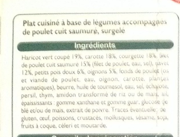 Sauté de légumes au poulet - Ingredients - fr
