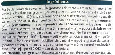 Parmentier de Canard - Ingrédients