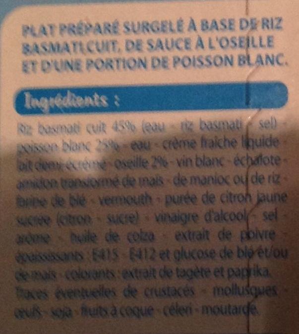 Fine Ligne - Poisson à l'oseille au riz basmati - Ingredients - fr