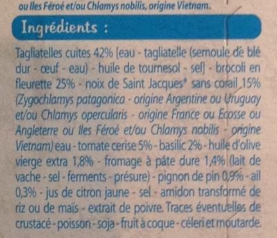Tagliatelles sauce pesto et noix de Saint Jacques*, Surgelé - Ingrédients - fr