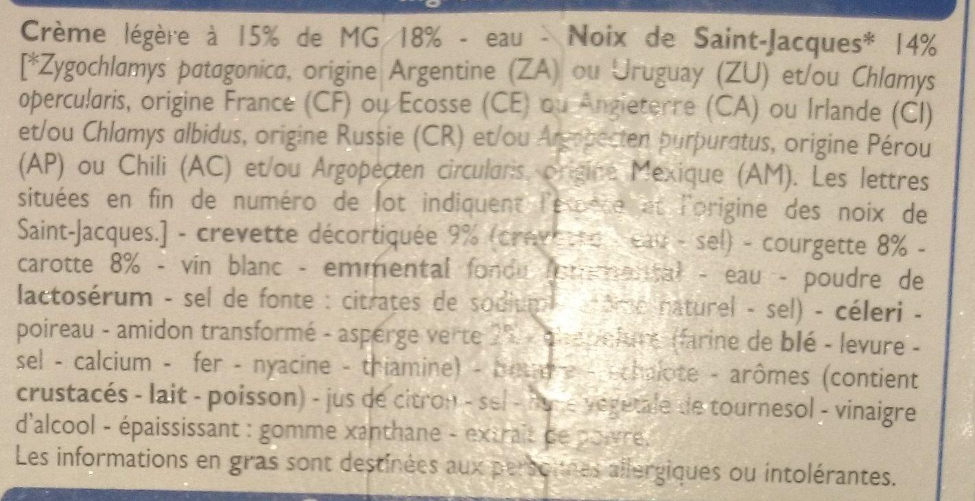Gratin de fruit de mer Saint-Jacques et Gambas - Ingrédients