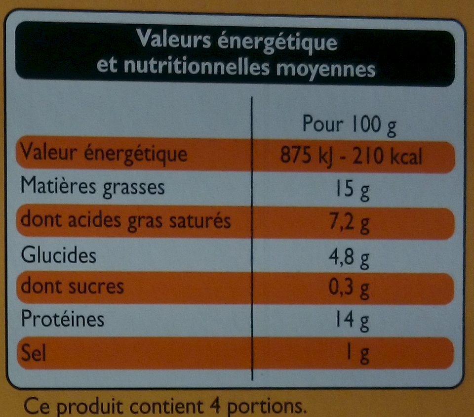 4 Grillad' Oignons - Informations nutritionnelles