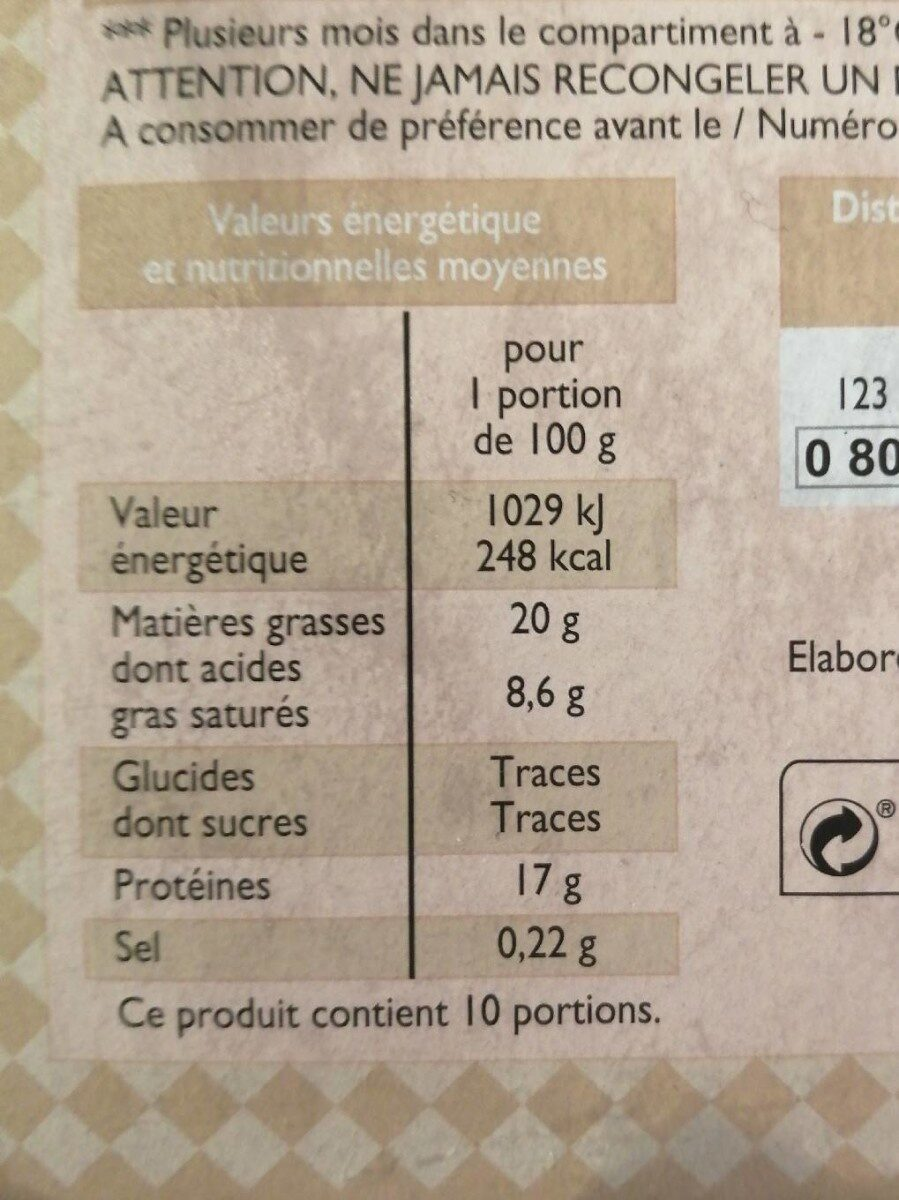 Steak haché - Informations nutritionnelles - fr