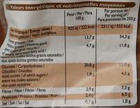 Pommes de Terre Périgourdine - Informations nutritionnelles