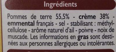 4 Mini Gratins Dauphinois à la Crème - Ingredients
