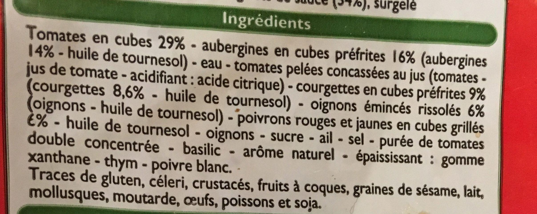 Ratatouille cuisinée - Ingredients