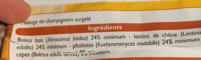 Mélange de champignons - Ingrédients