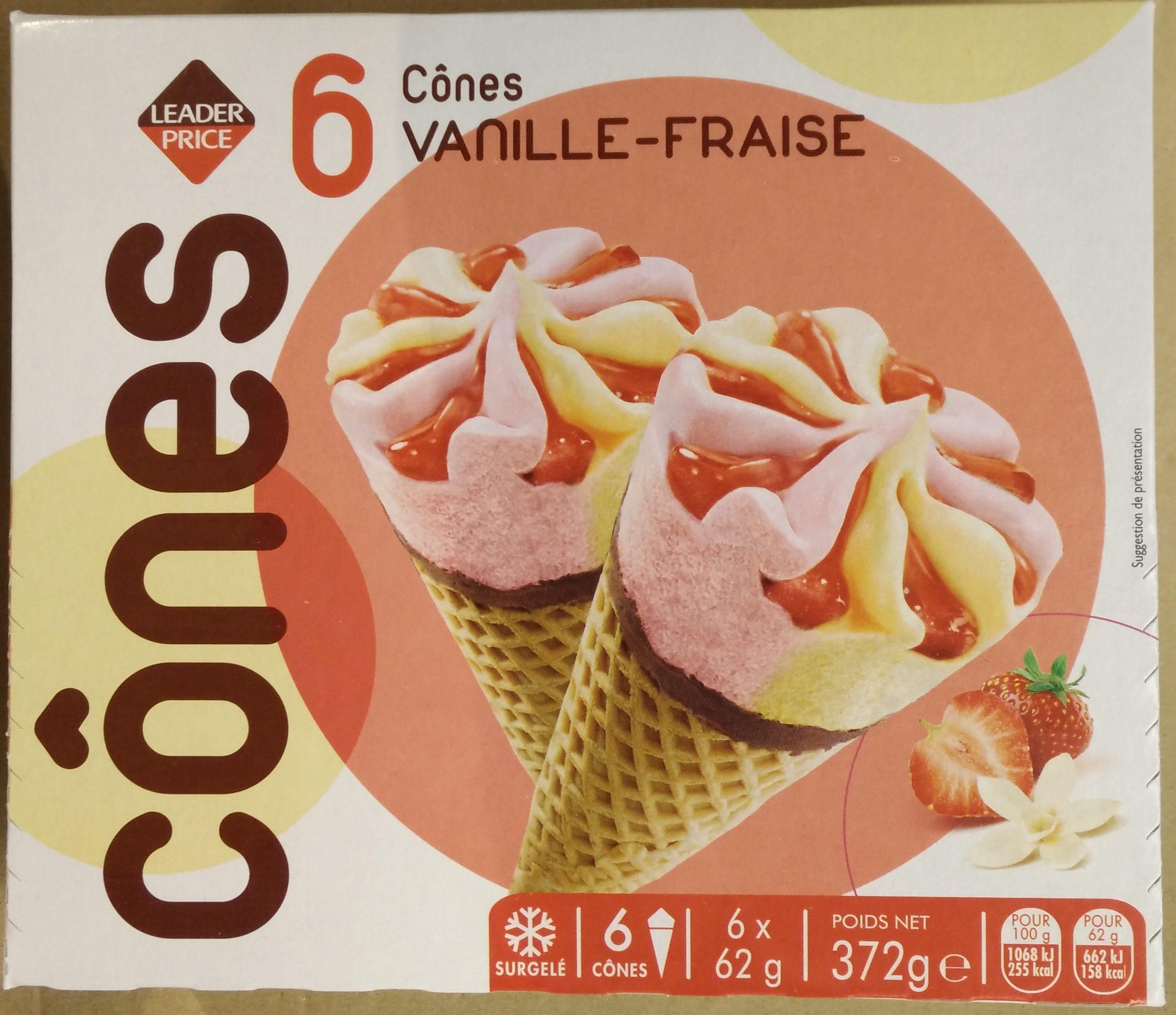 6 Cônes Vanille -Fraise - Produit