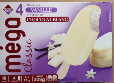 Méga classic - 4 Bâtonnets vanille au chocolat blanc - Product - fr