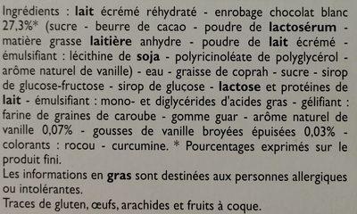 Méga classic - 4 Bâtonnets vanille au chocolat blanc - Ingrediënten - fr