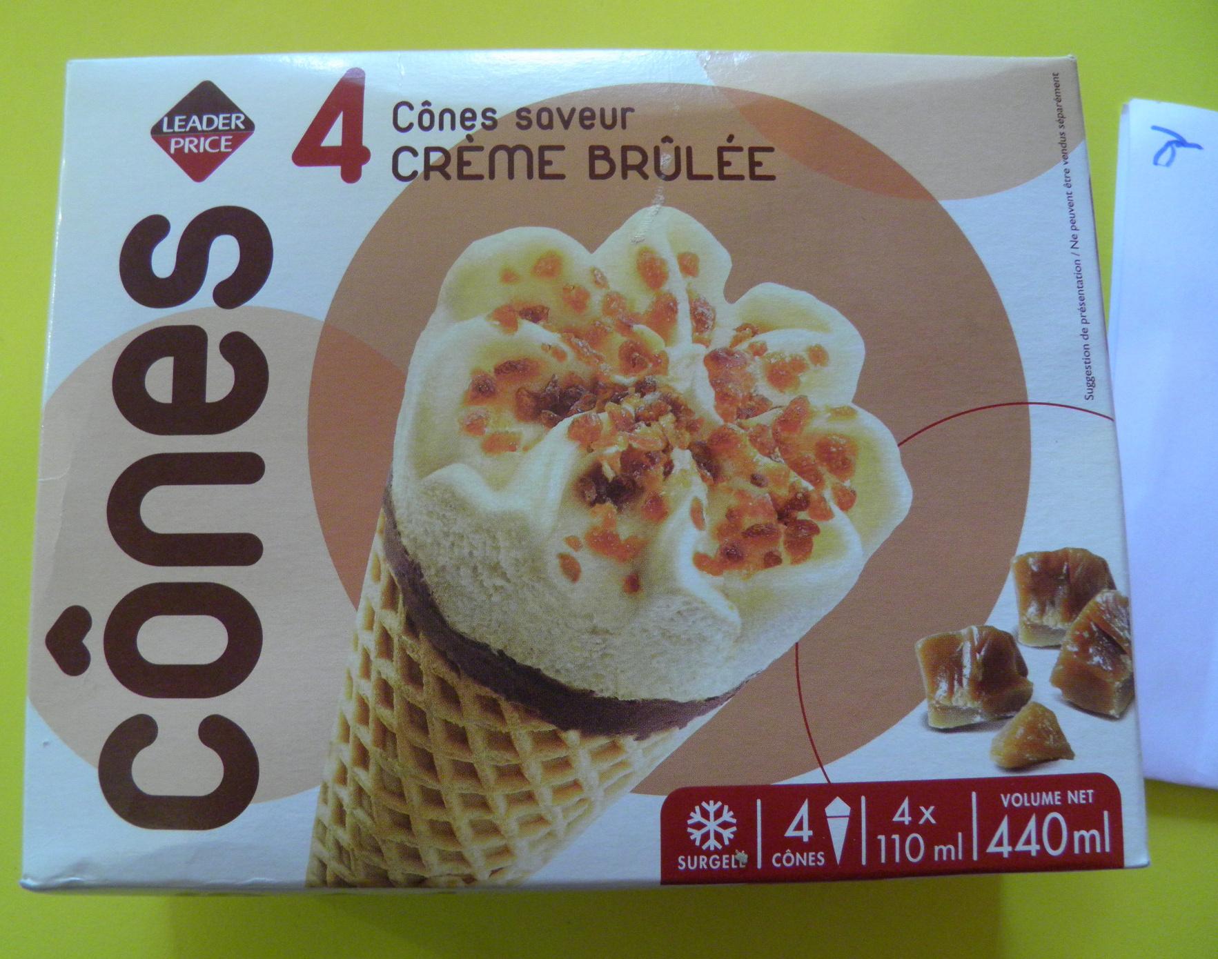 4 Cônes Crème brûlée - Produit - fr