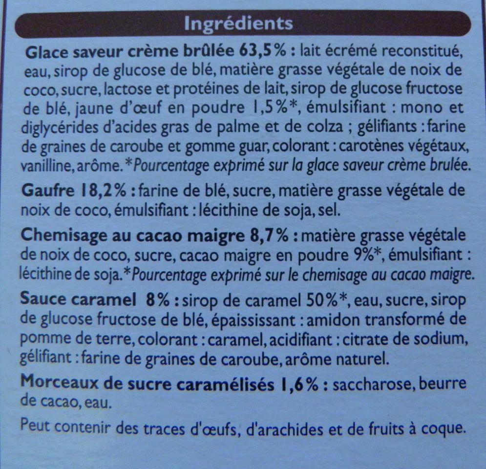 4 Cônes Crème brûlée - Ingrédients - fr