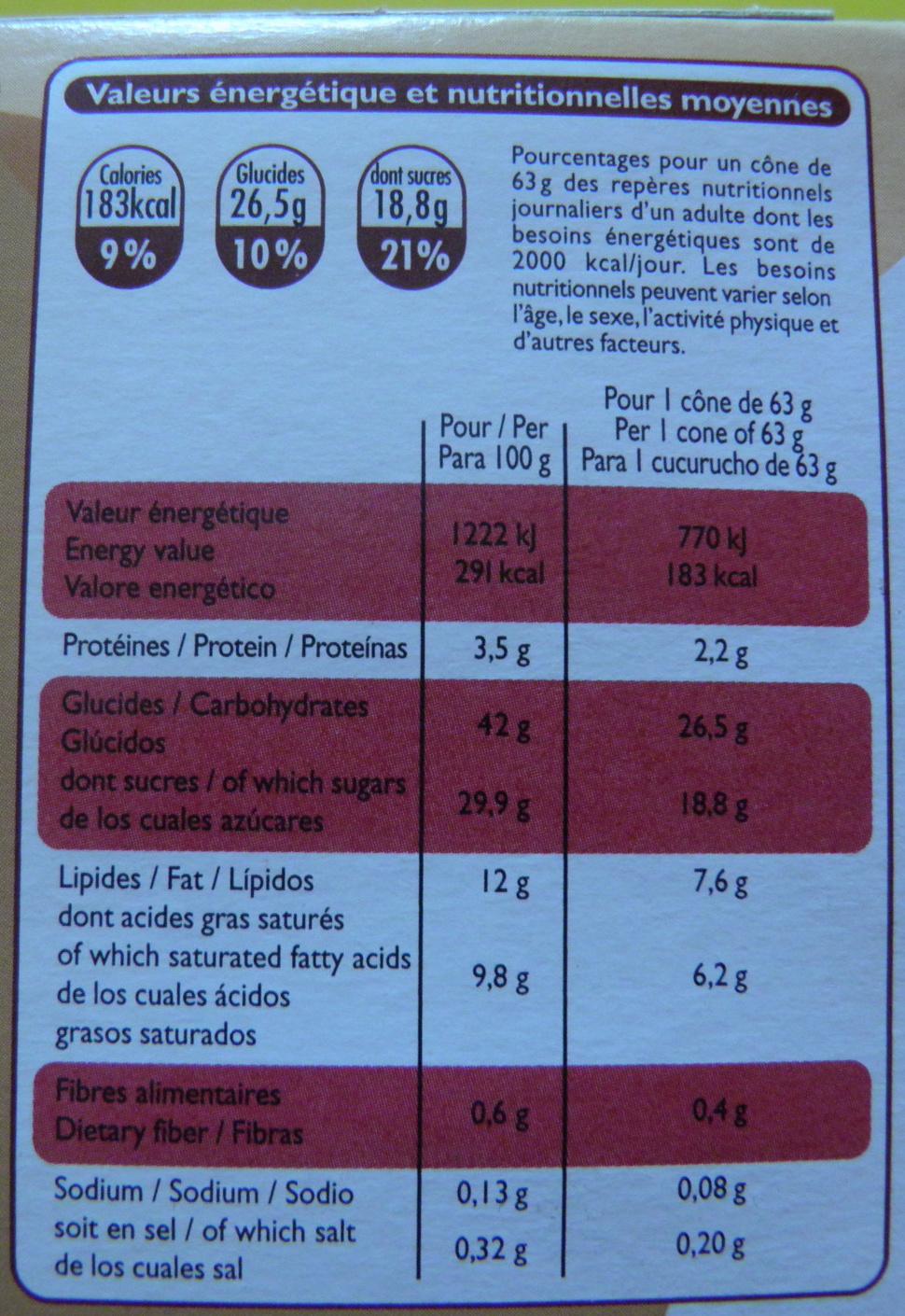 4 Cônes Crème brûlée - Informations nutritionnelles