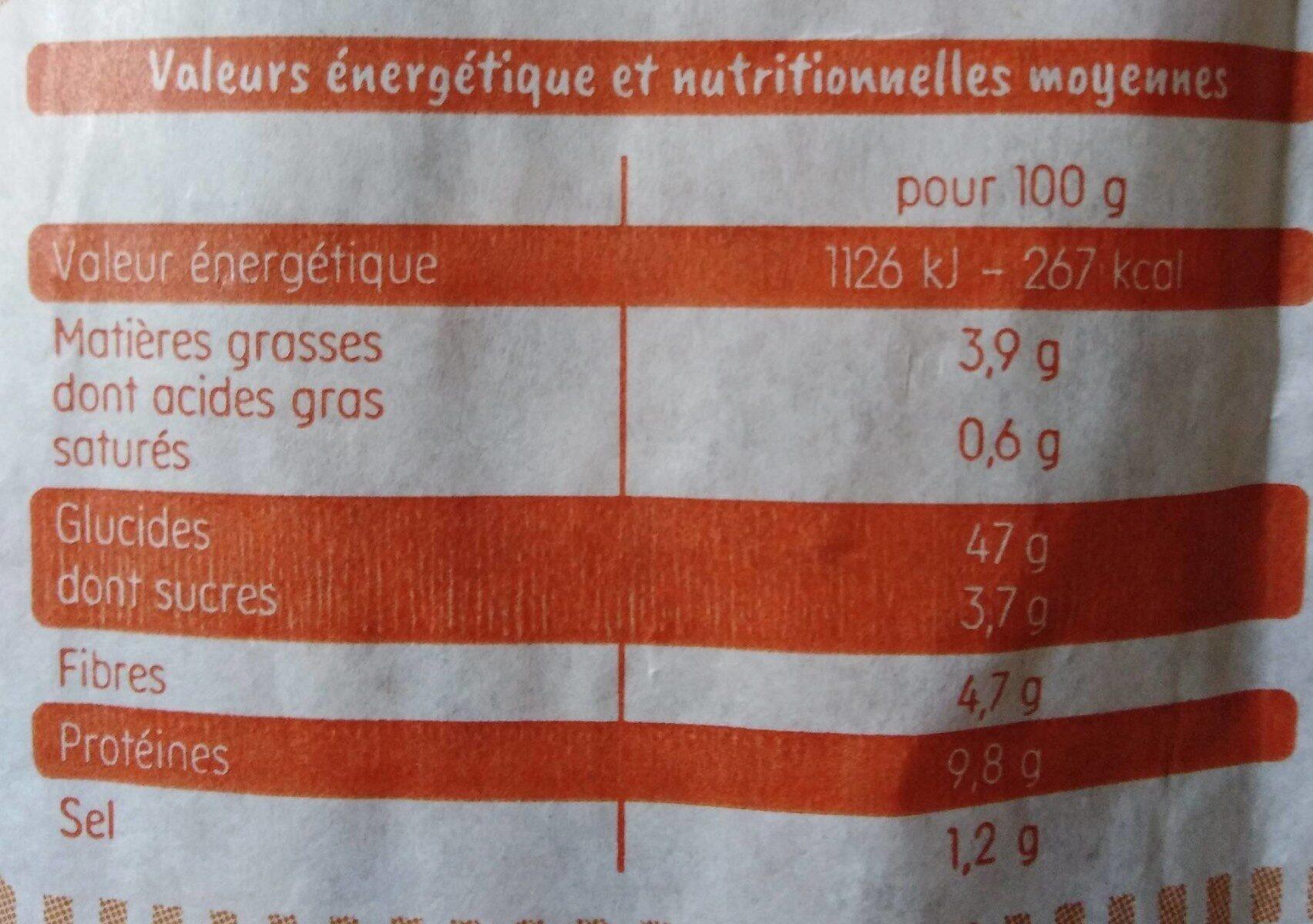 Baguette aux céréales - Valori nutrizionali - fr