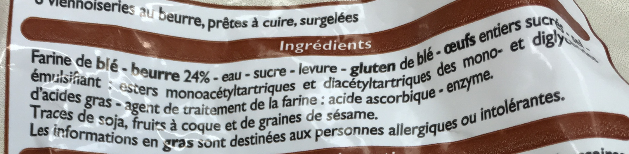 6 Croissants Pur Beurre - Ingredients - fr