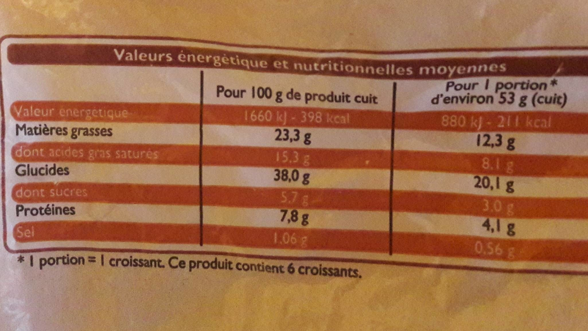 6 Croissants Pur Beurre - Nutrition facts - fr