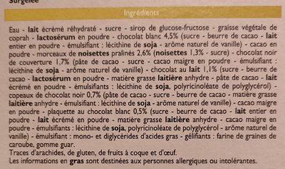 Bûche Glacée 3 chocolats - Ingrédients