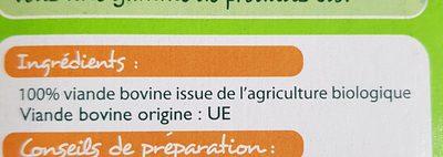 Steak Haché Pur Boeuf 15% MG BIO - Ingrédients