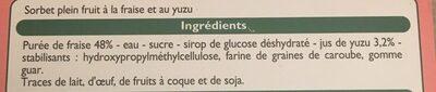 Delice de  sorbet fraise yuzu - Ingrediënten