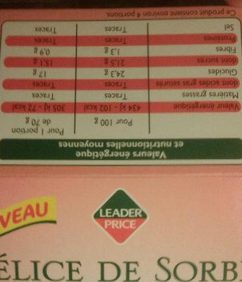 Delice de  sorbet fraise yuzu - Voedingswaarden