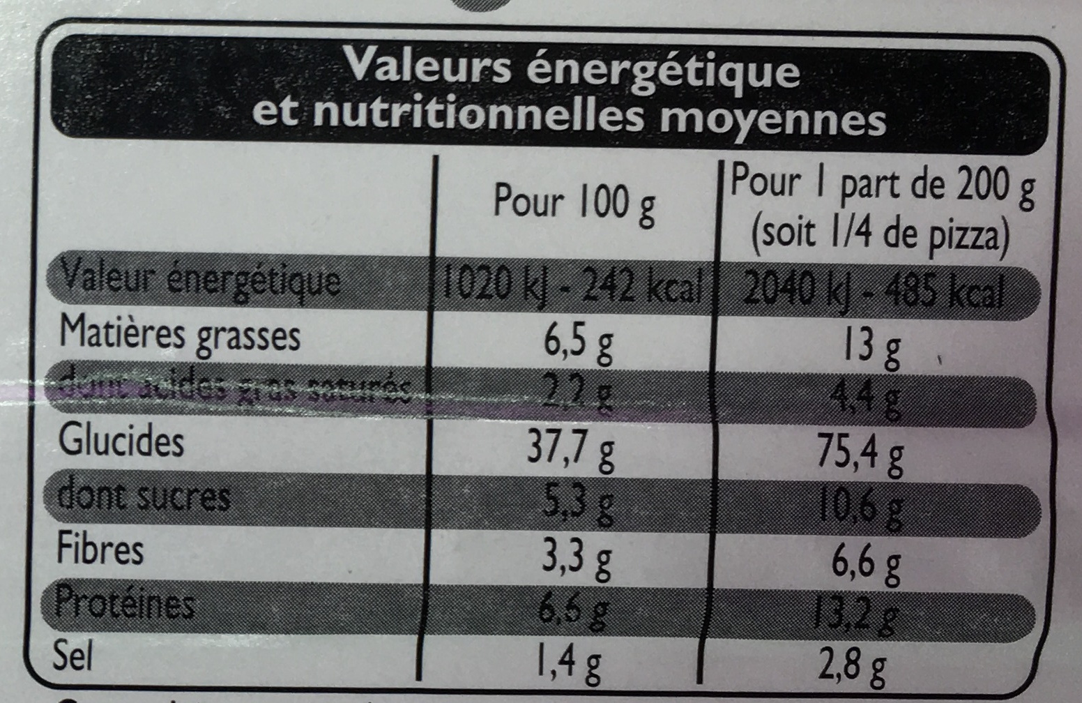Pizza Maxi Jambon-Fromage - Informations nutritionnelles - fr