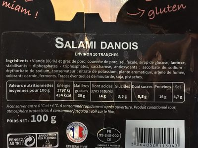 Les Tréfines Salami Danois - Ingrédients - fr