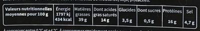 Les Tréfines Salami Danois - Nutrition facts