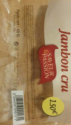 Jambon cru - Nutrition facts