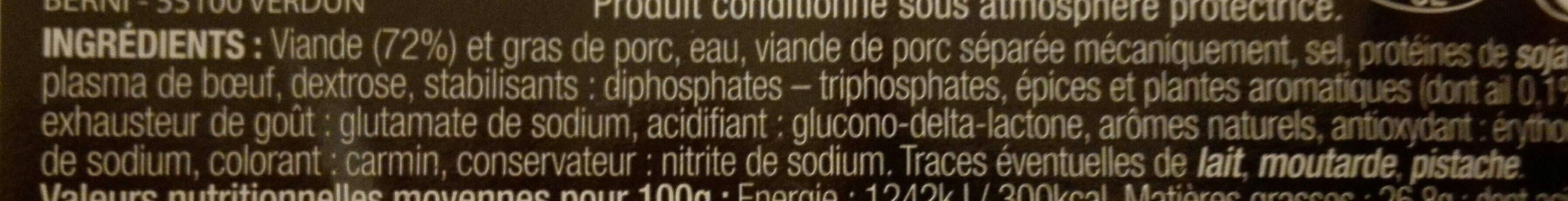 Saucisson cuit a l ail - Ingrédients