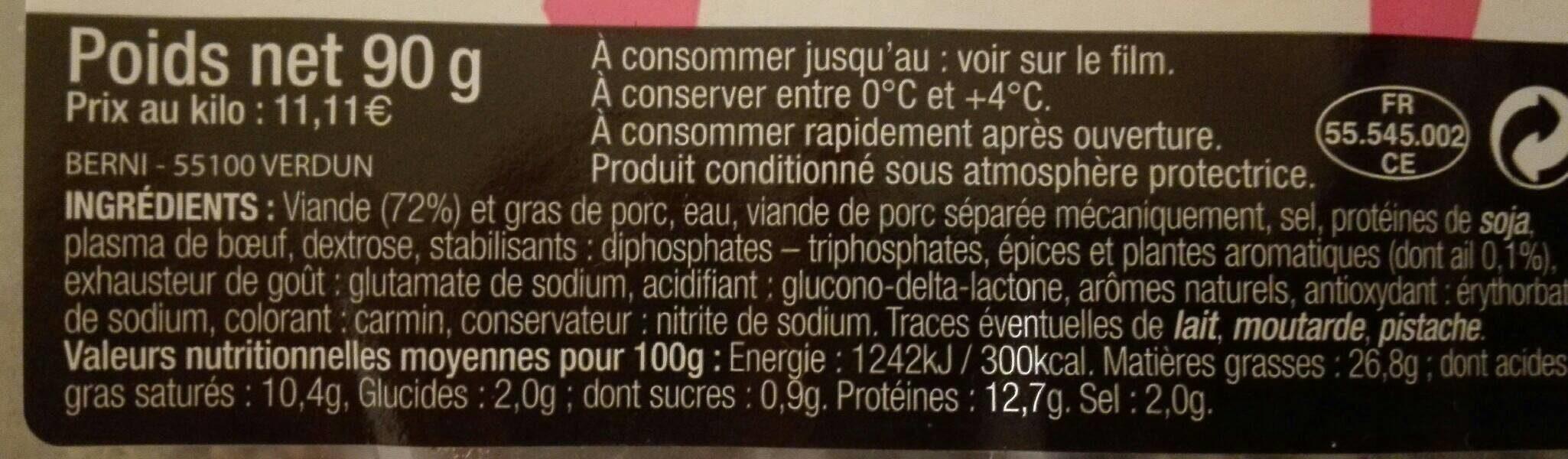Saucisson cuit a l ail - Informations nutritionnelles