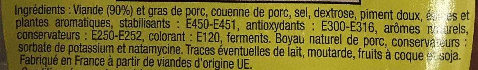 Chorizo pur porc Fort - Ingrédients - fr