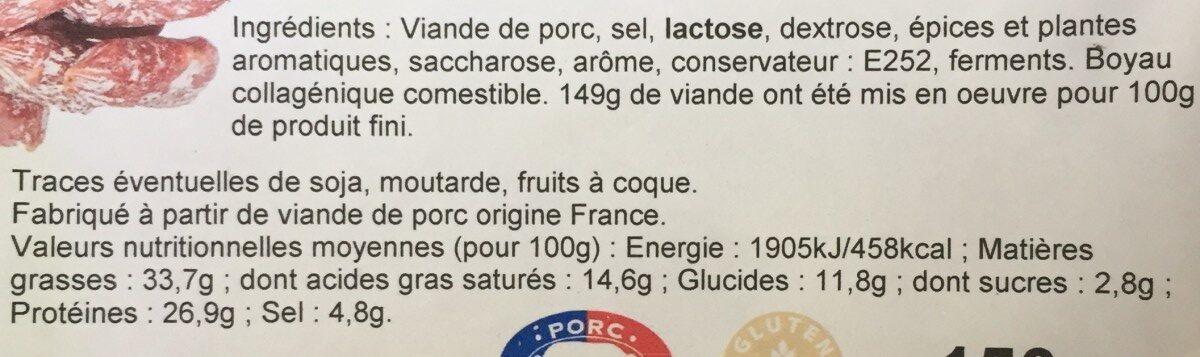 Mini saucisson sec - Ingrédients - fr