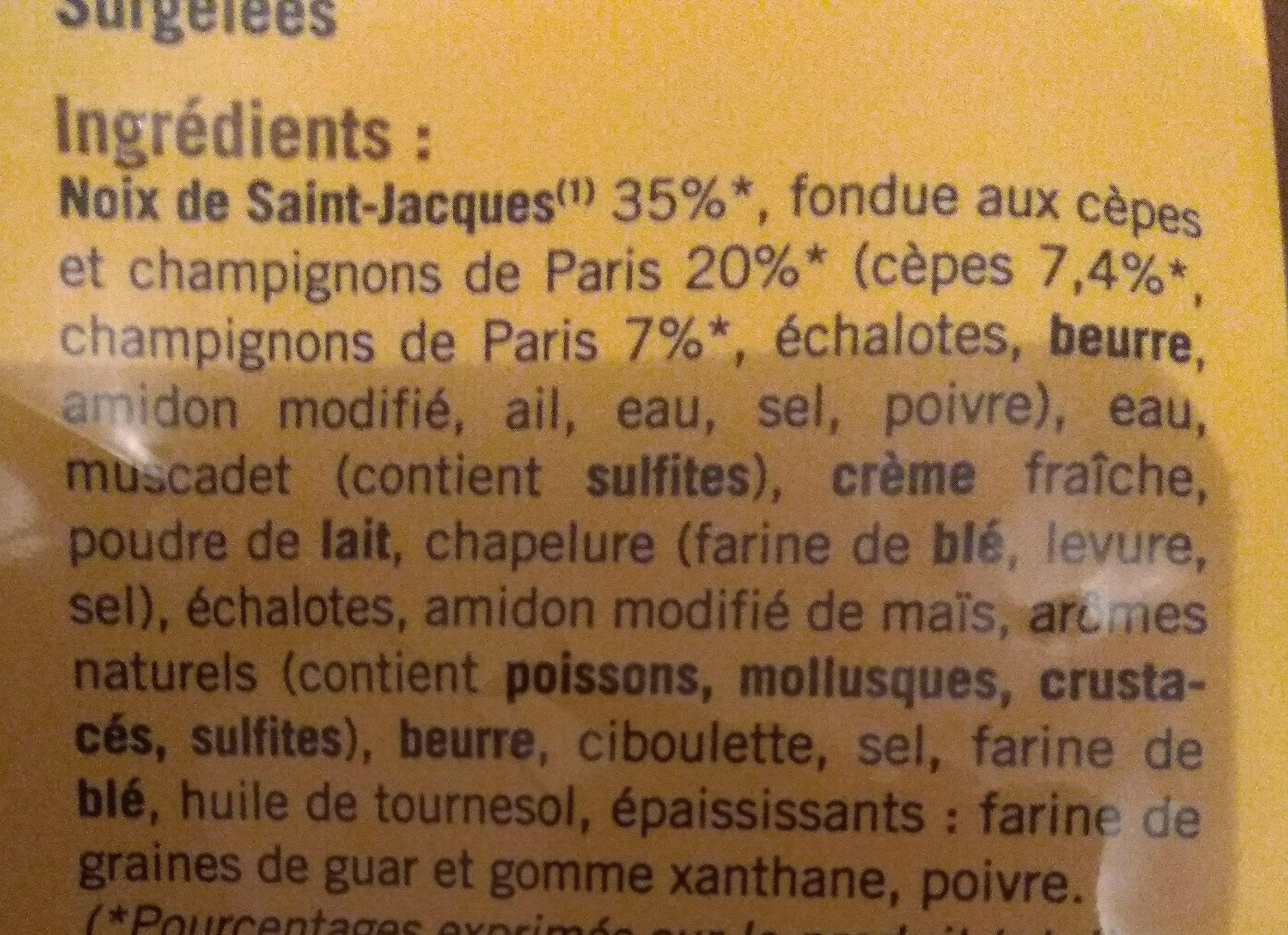 Coquille saint Jacques et fondue aux cèpes - Ingrédients - fr
