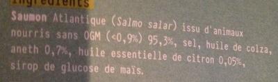 Emincés de saumon fumé aneth & citron - Ingrédients - fr