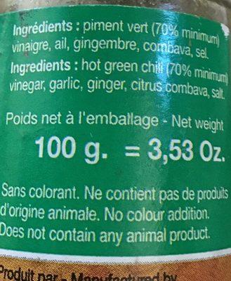 Bon'epices Pate de piments verts - Ingrediënten