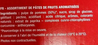 Bâtonnets pâtes de fruits - Ingrédients - fr