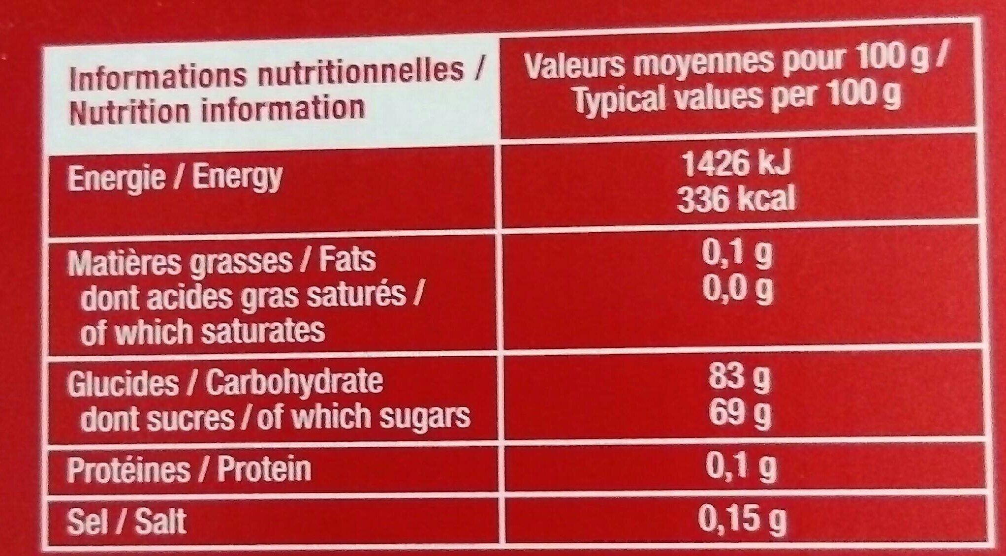 Bâtonnets pâtes de fruits - Informations nutritionnelles - fr