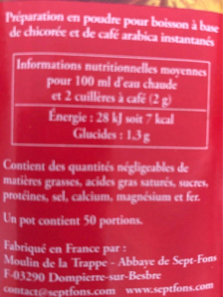 Café et chicorée soluble bio - Informations nutritionnelles - fr