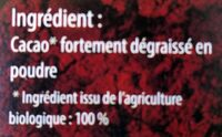 Cacao maigre 100% Bio - Ingredients - fr