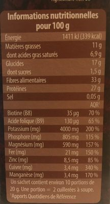 Cacao Bio - Informations nutritionnelles