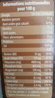 Cacao maigre 100% Bio - Nutrition facts - fr